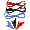 AEMC 2119.55 Safety Test Leads with Alligator Clips for the 1050 & 1060, Colour Coded, Set of 3, 5ft