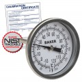 Baker T30025-250 Bimetal Thermometer, 0 to 250°F (-20 to 120°C) with NIST Traceable Certificate