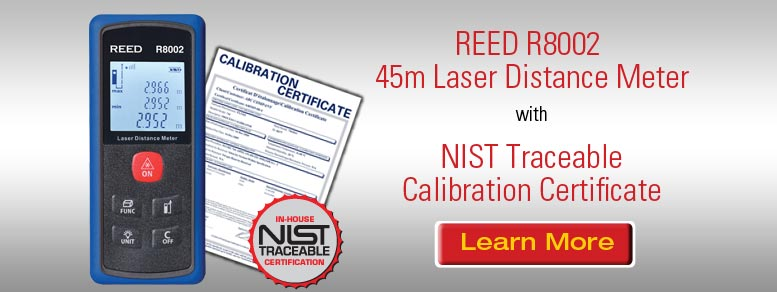 Learn more about our REED R8002 Laser Distance Meter with NiST Traceable Calibration Certificate