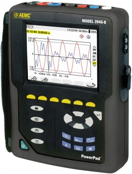 AEMC 3945-B PowerPad Power Quality Analyzer Kit with 3x MN93 Clamp-on CT (240A)