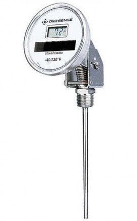 "Digi-Sense 90130-12 Adjustable Solar-Powered Thermometer, -50 to 300°F, 12"" Stem-"