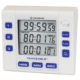 Digi-Sense 94411-10 Traceable Triple-Display Clock/Timer with Calibration-