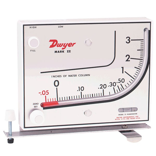 "Dwyer MARK II 25 Inclined/Vertical Manometer (0-3"" w.c.) using Red Gauge Oil"