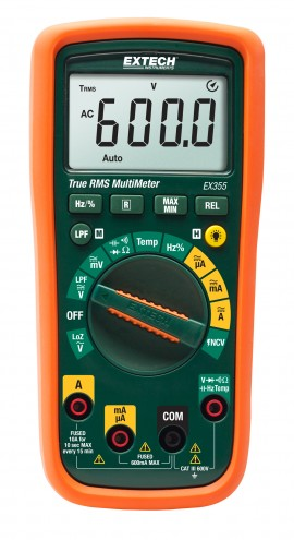 Extech EX355 TRMS Multimeter with Temperature & NCV, 12 Functions-