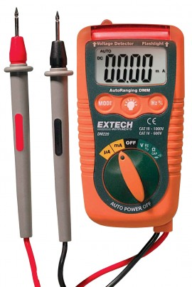 Extech DM220 Mini Pocket Multimeter with Non-Contact Voltage Detector-