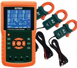 Extech PQ3450-12 3-Phase Power Analyzer/Data Logger Kit with set of 3 CTs, 1200 A-