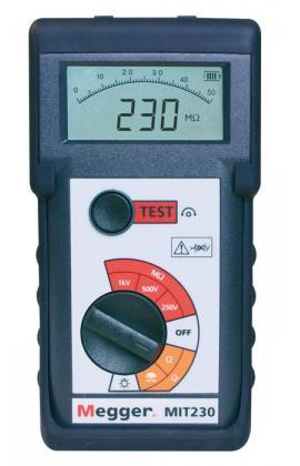 Megger MIT230HD0 Insulation Tester with Rubber Boot, 250V/500V/1000V