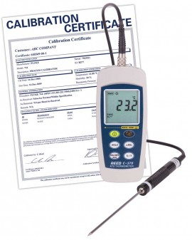 REED C-370-NIST RTD Thermometer, -148 to 572°F (-100 to 300°C), Waterproof  (IP67),