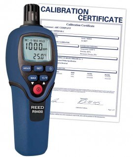 REED R9400-NIST Carbon Monoxide Meter with Temperature, 1000ppm, -4 to 158°F (-20 to 70°C),  -
