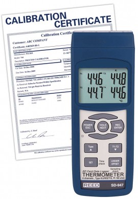 REED SD-947 Thermocouple/RTD Thermometer/Data Logger, 4-channel,-