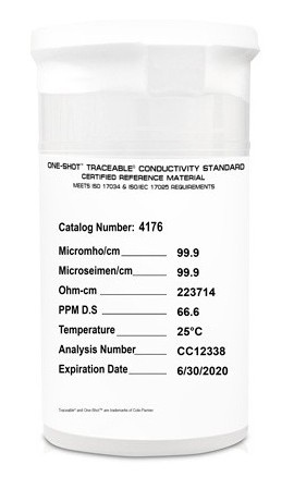 Traceable 4176 One-Shot Conductivity Standards, 6-Pack, 100 μS-